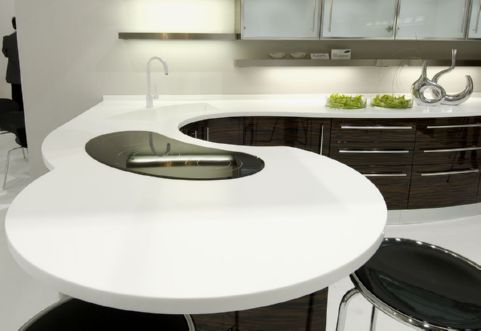 Curved Staron benchtop with custom designed integrated sink. Source: www.austaron.com.au