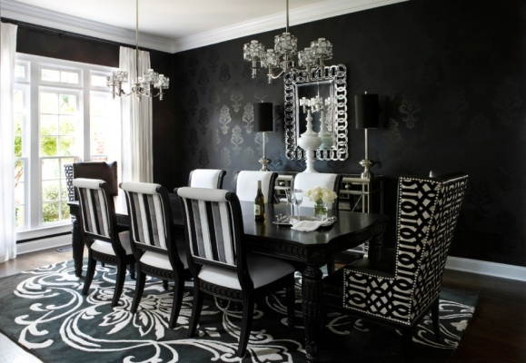 Victorian-gothic-dining-room-in-black-color