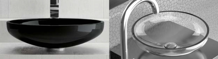 Aqua Transparent & Black Basins