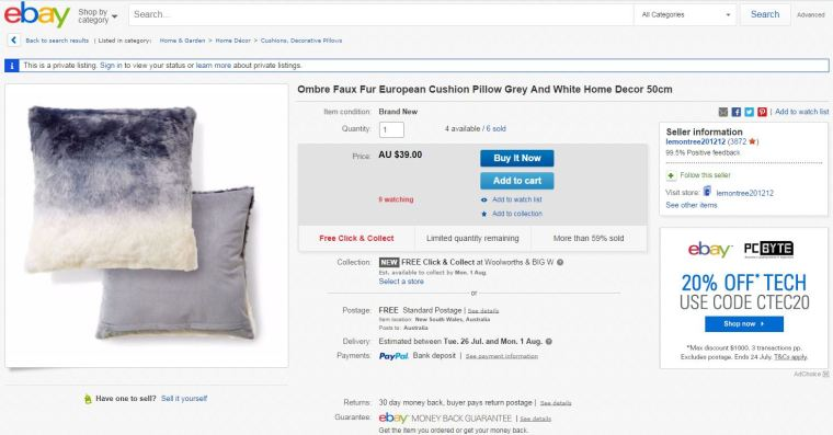 Fur Cushion_Ebay Scam