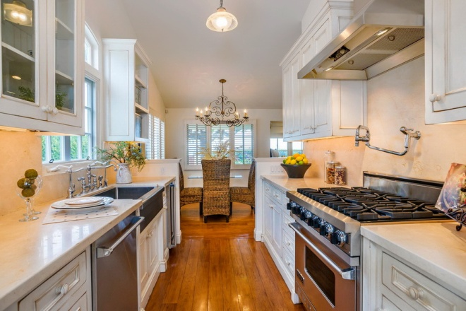 Exciting Beach House Galley Kitchen Design White Cupboard